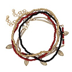 Butterfly by Matthew Williamson - Designer red and jet seed bead stretch bracelet pack