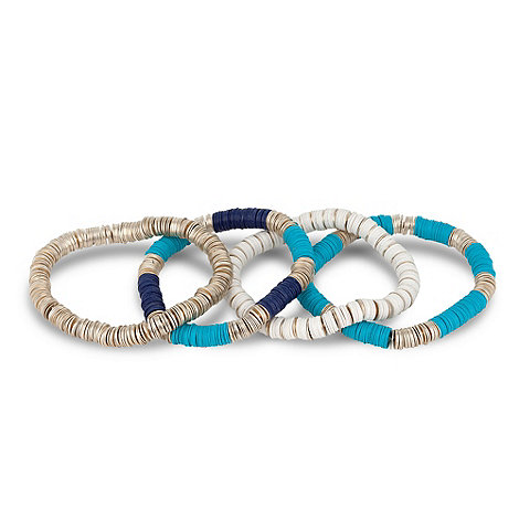Butterfly by Matthew Williamson - Designer blue sequin triple stretch bracelet pack