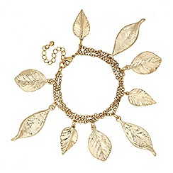 Butterfly by Matthew Williamson - Designer long gold multi leaf bracelet