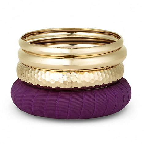 Butterfly by Matthew Williamson - Designer gold and purple multi bangle set