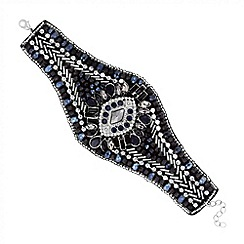 Butterfly by Matthew Williamson - Designer jet embellished fabric cuff bracelet