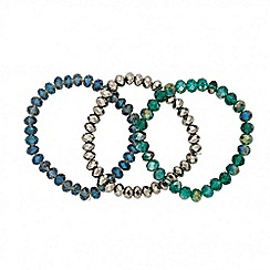 Butterfly by Matthew Williamson - Designer set of three mixed blue beaded stretch bracelets