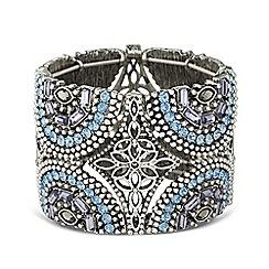 Butterfly by Matthew Williamson - Designer embellished wide floral stretch bracelet