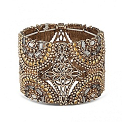 Butterfly by Matthew Williamson - Designer grey crystal encased wide floral stretch bracelet