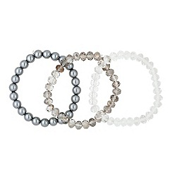 Butterfly by Matthew Williamson - Designer set of three grey bead stretch bracelets