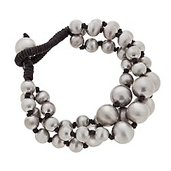 Butterfly by Matthew Williamson - Designer grey ball bead multirow cord tie bracelet