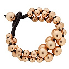Butterfly by Matthew Williamson - Designer gold ball bead multirow cord tie bracelet