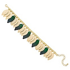 Butterfly by Matthew Williamson - Designer green and gold metal leaf bracelet