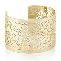 Butterfly by Matthew Williamson - Designer gold filigree open cuff bangle