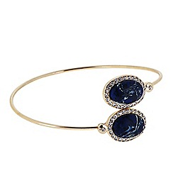 Butterfly by Matthew Williamson - Designer Blue marble effect stone cross over bangle