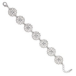 Butterfly by Matthew Williamson - Designer Silver crystal cut out flower bracelet