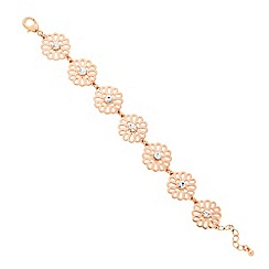 Butterfly by Matthew Williamson - Designer rose gold cut out crystal flower bracelet
