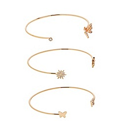 Butterfly by Matthew Williamson - Designer rose gold crystal butterfly open bangle set