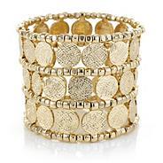 Designer coin beaded cuff bracelet
