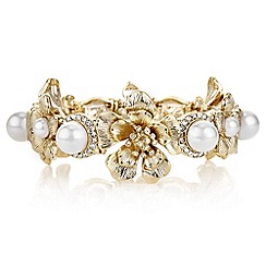 Butterfly by Matthew Williamson - Designer gold floral pearl bracelet