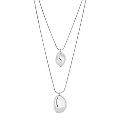 Principles by Ben de Lisi - Designer pebble multi row silver necklace