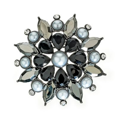 Pearl And Facet Stone Set Brooch