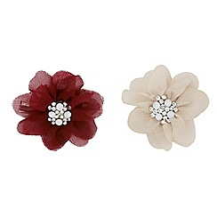 Red Herring - Set of two red and cream floral brooches