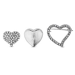 Red Herring - Silver crystal heart brooch set
