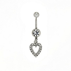 Red Herring - Crystal heart drop belly bar