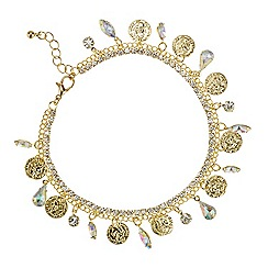 Red Herring - Gold coin and aurora borealis crystal droplet anklet