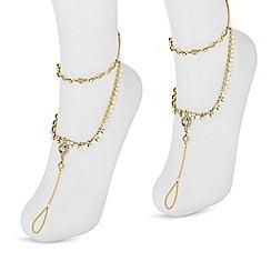 Red Herring - Gold crystal anklet set