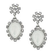 Crystal and navette stone drop earring