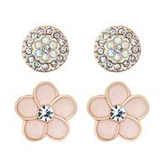 Set of two crystal and enamel flower stud earrings