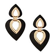 Statement black enamel heart drop earring