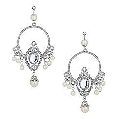 Red Herring - Oversized pearl crystal chandelier earring