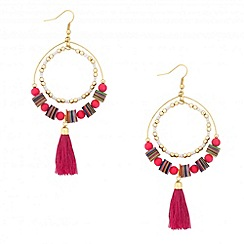 Red Herring - Mixed bead tassel drop earring