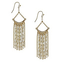 Red Herring - White bead and chain tassel drop earring