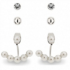 Red Herring - Pearl swing earring and stud set