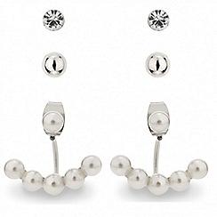 Red Herring - Pearl swing earring and stud set
