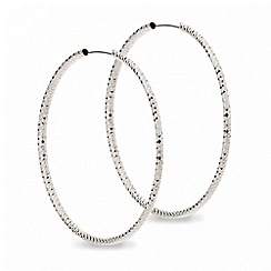 Red Herring - Large diamond cut silver hoop earring