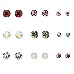 Red Herring - Set of nine multicoloured stud earrings