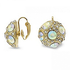 Red Herring - Aurora borealis crystal dome clip on earring