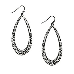 Red Herring - Crystal embellished hematite teardrop earring