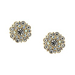 Red Herring - Crystal flower burst gold stud earring