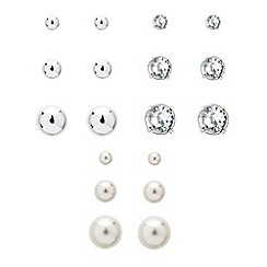 Red Herring - Set of nine crystal and pearl stud earrings
