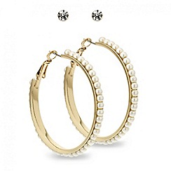 Red Herring - Crystal stud and pearl hoop earring set