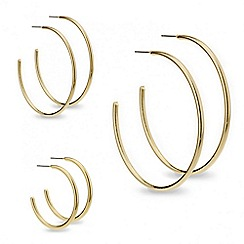 Red Herring - Set of three graduated gold hoop earrings