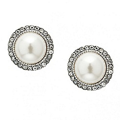 Red Herring - Large pearl crystal surround stud earring
