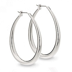 Red Herring - Polished silver oval hoop earring