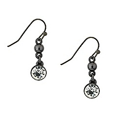 Red Herring - Round crystal hematite drop earring