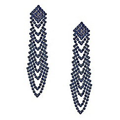 Red Herring - Blue diamante looped chandelier earring