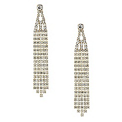 Red Herring - Diamante crystal gold shower drop earring