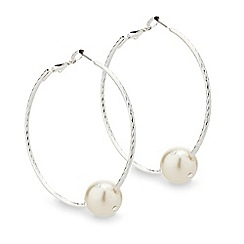 Red Herring - Crystal embellished pearl silver hoop earring