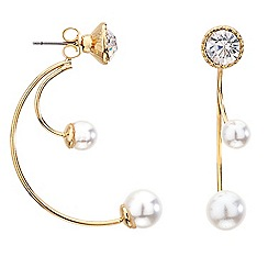 Red Herring - Double pearl front and back earring