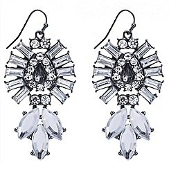 Red Herring - Baguette surround triple navette drop earring